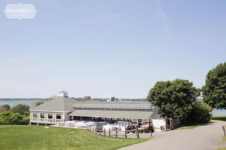 View of the Thompson Island Boston wedding pavilion overlooking the ocean.