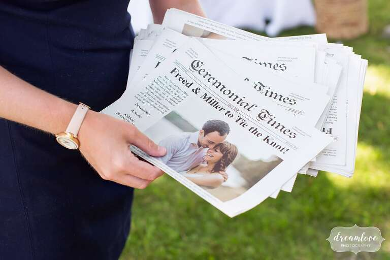 Funny fake newspaper given to guests at this Boston journalism wedding.