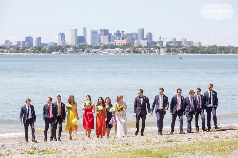 Wedding party with Boston skyline on Thompson Island.