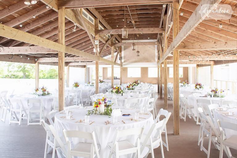 Thompson Island pavilion simple wedding decor.
