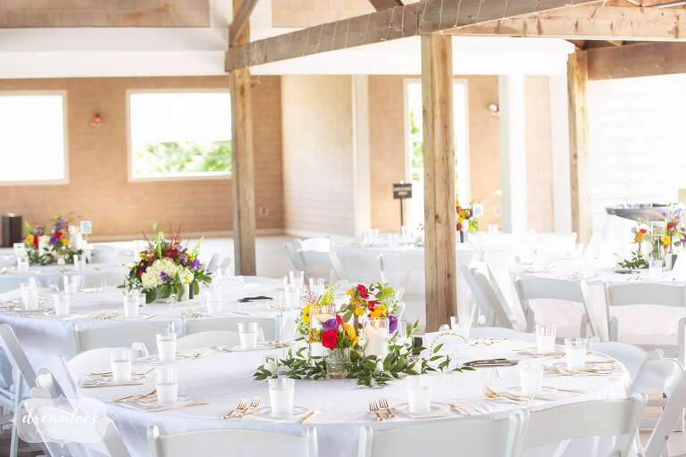 Colorful and simple table decor at this rustic Boston island wedding.