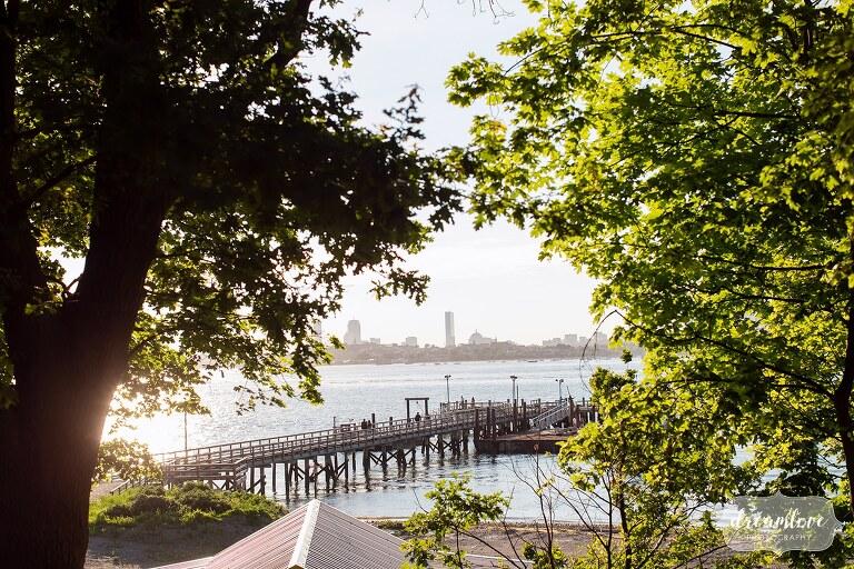 Ferry arrives on Thompson Island for a summer wedding.
