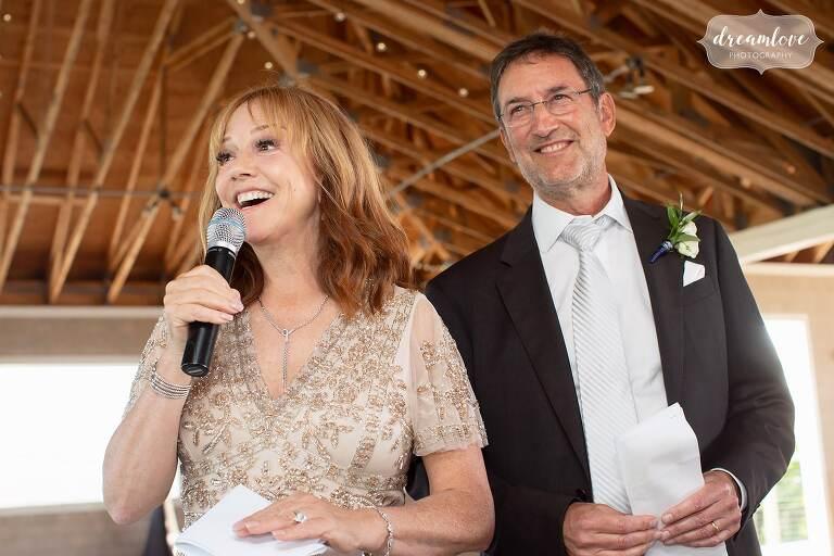 Parents give wedding toast on Thompson Island.