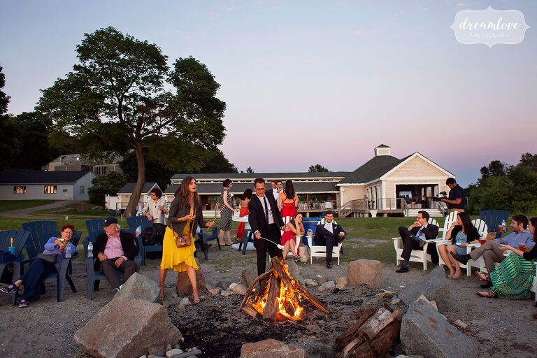 Thompson Island bonfire with smores for outdoor wedding.