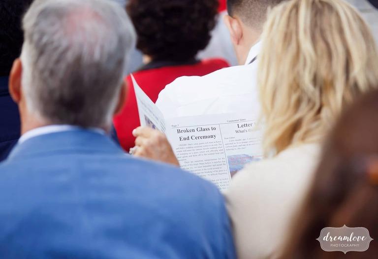 Fake newspaper wedding program for a journalist wedding in Boston.