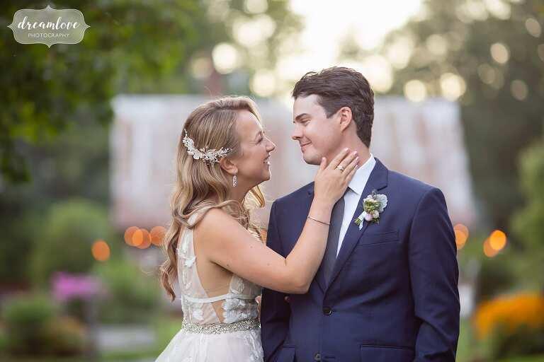 Bride and groom for Bishop Farm summer wedding.