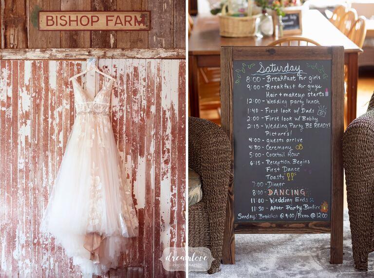 BHLDN wedding dress hanging on rustic barn door at Bishop Farm.