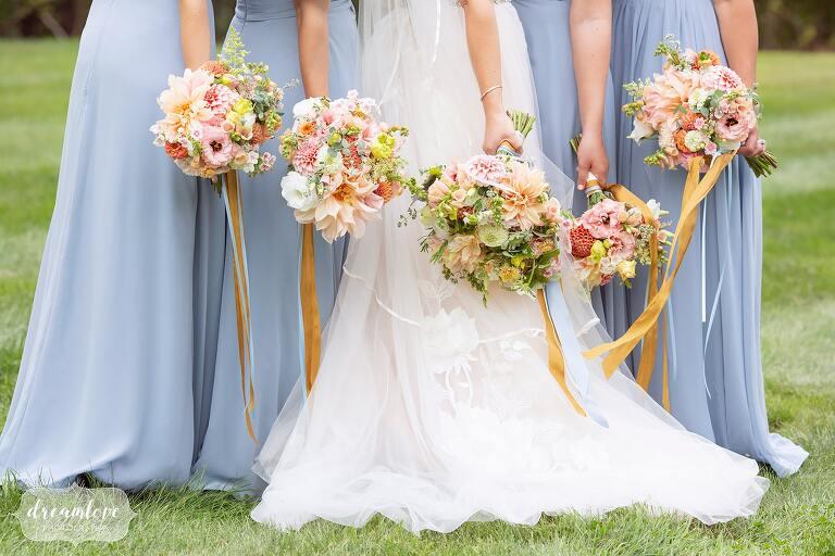 Romantic wedding bouquets by Tarrnation Farm at Bishop Farm.