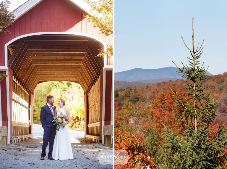 Bride and groom stand under red covered bridge in October before their Stratton Mountain Wedding.