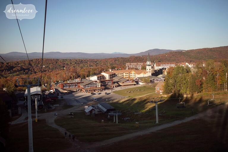 View of the Stratton Mountain Wedding venue from on top of the mountain in October.