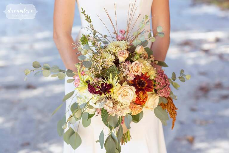 Stunning fall foliage wedding bouquet.