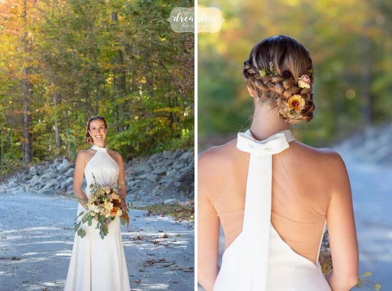 Halter wedding dress at Stratton Mountain Vermont.