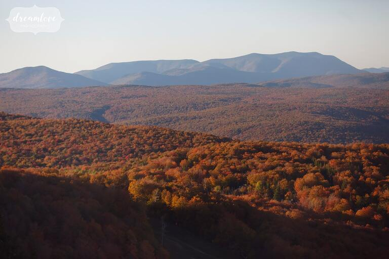 Red and orange mountains at Stratton Resort wedding venue in VT.