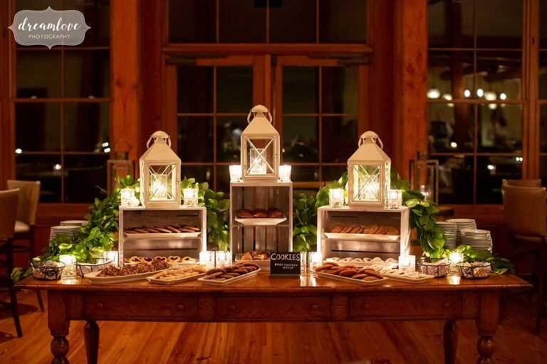 Rustic cookie table set up at Stratton Mountain wedding reception.