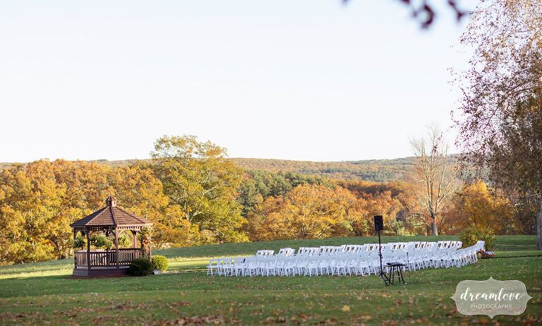 Fall foliage at the Zukas Hilltop Barn outdoor ceremony site in October.