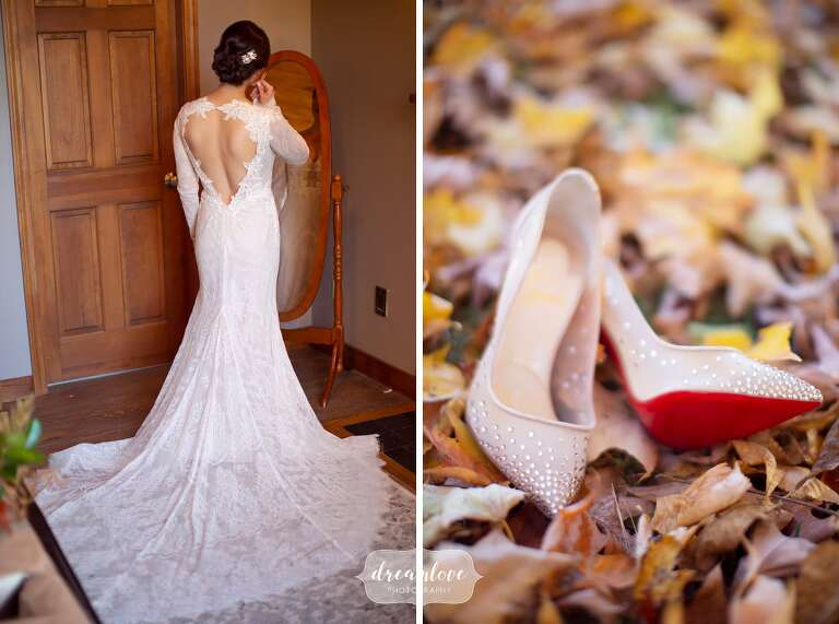 Bride wearing Lazaro dress and Louboutin sparkle shoes.