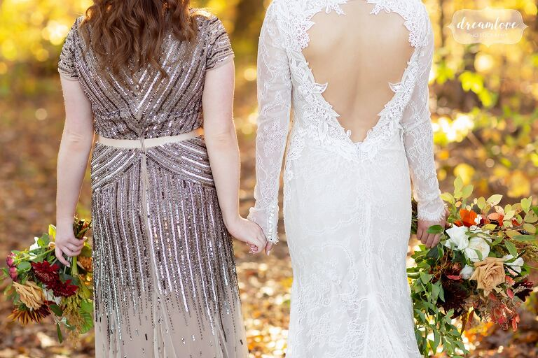 Open back Lazaro wedding gown with sleeves.