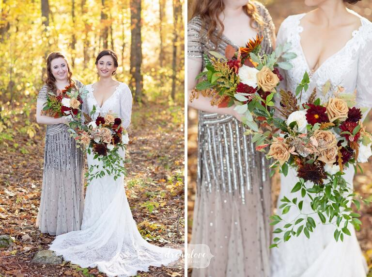 Fall wedding bouquets at Zukas Barn in central MA.