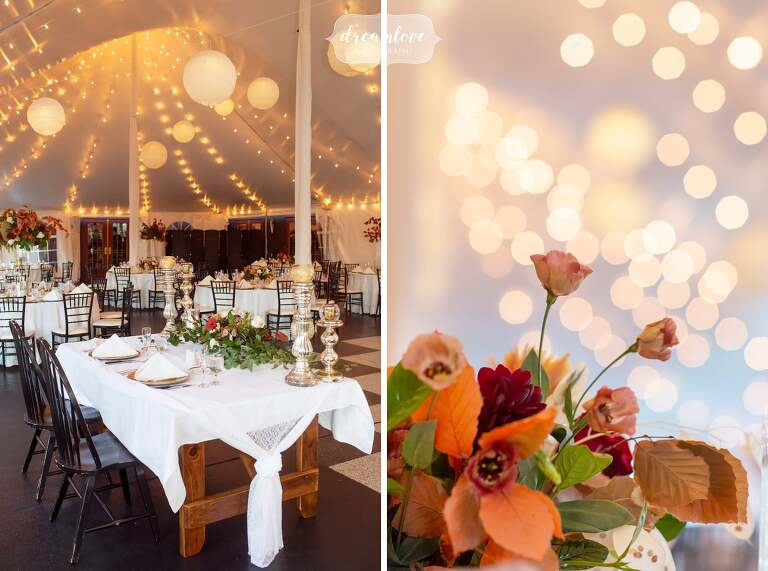 Rustic tented reception in central MA at Zukas Barn.