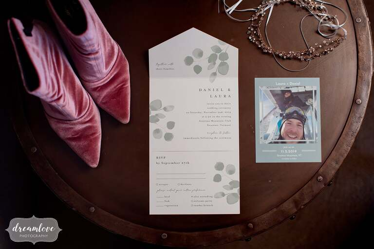 Velvet pink boots wedding shoes at Stratton Ski Resort.