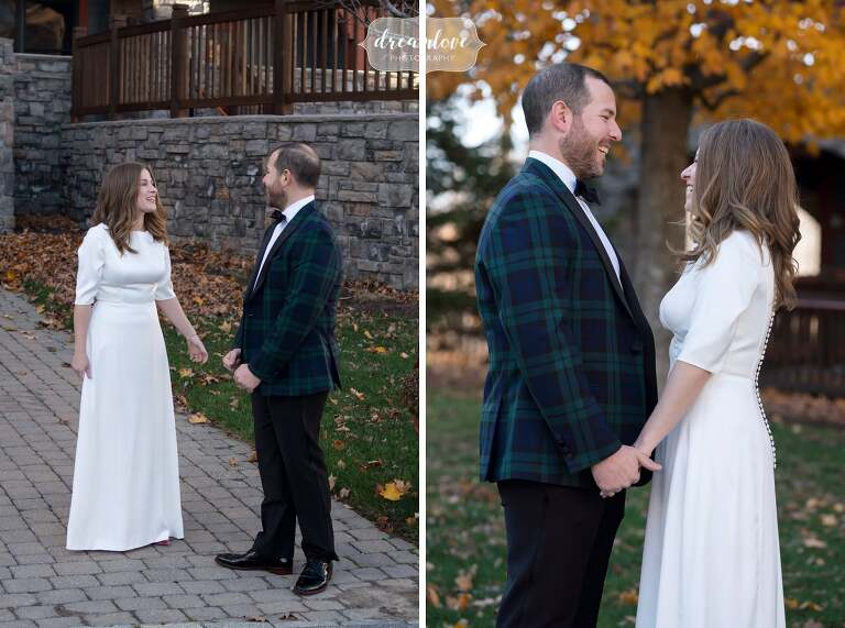 Bride and groom have first look at Stratton.