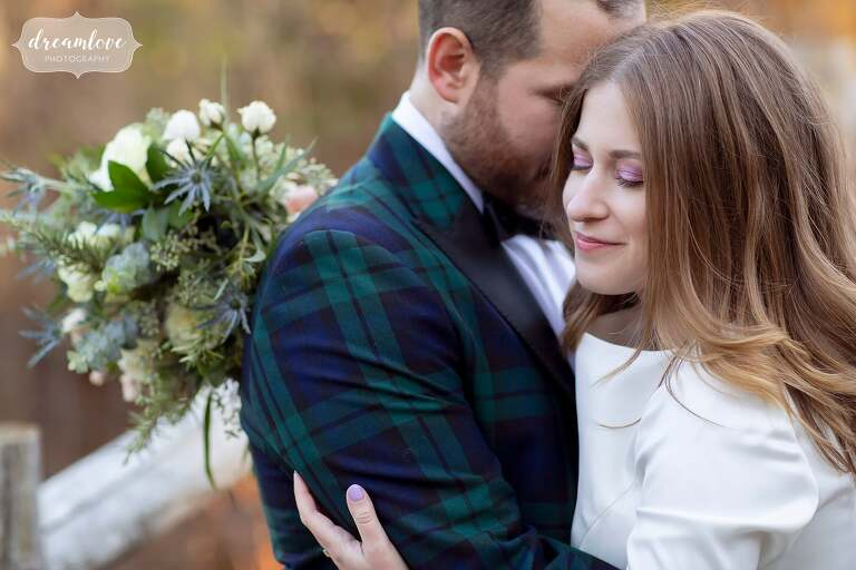 Groom in plaid jacket at Stratton Mountain wedding.