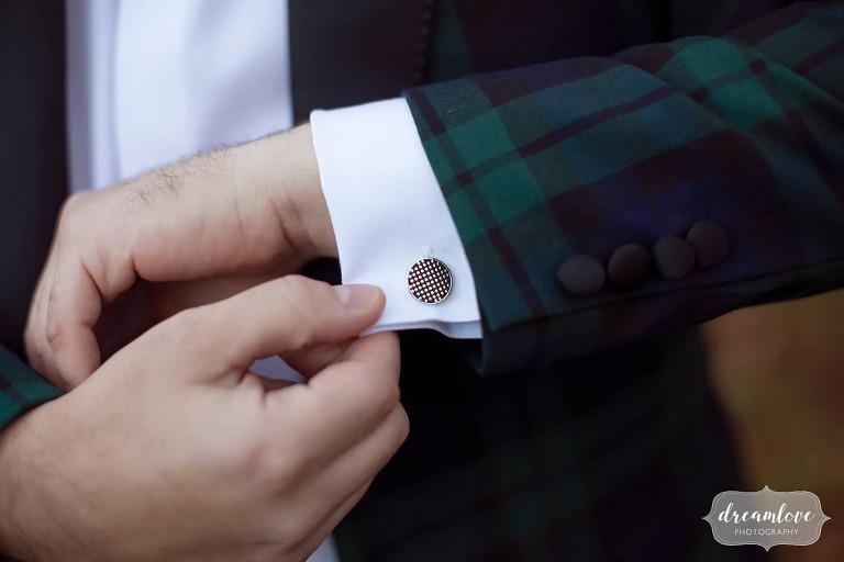 Polka dot cufflinks for Vermont ski resort wedding.