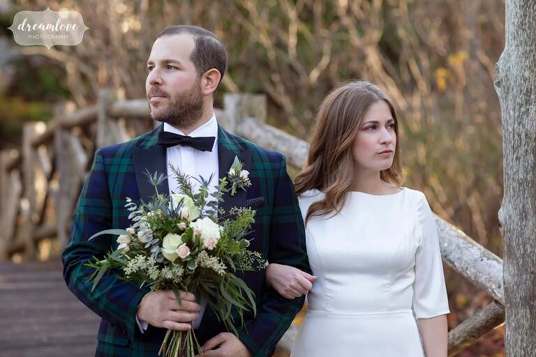 Serious wedding portrait of bride and groom at Stratton Resort.