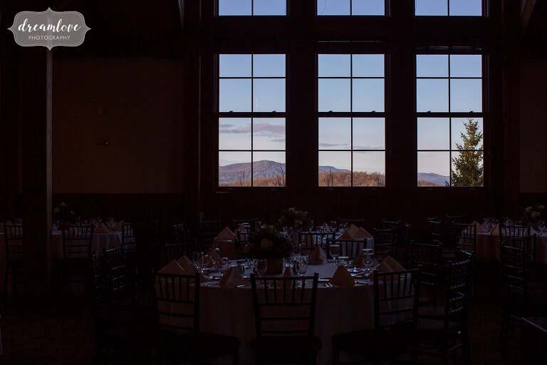 Green mountains seen from wedding reception lodge at Stratton.