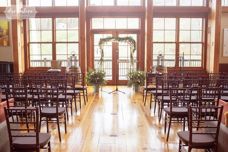 View of the indoor ceremony lodge at Stratton Mountain.