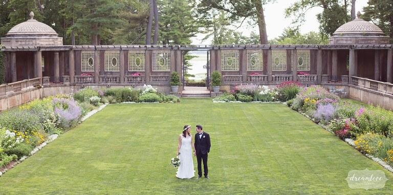 Bride and groom in the Italian Garden at the Crane Estate in MA.