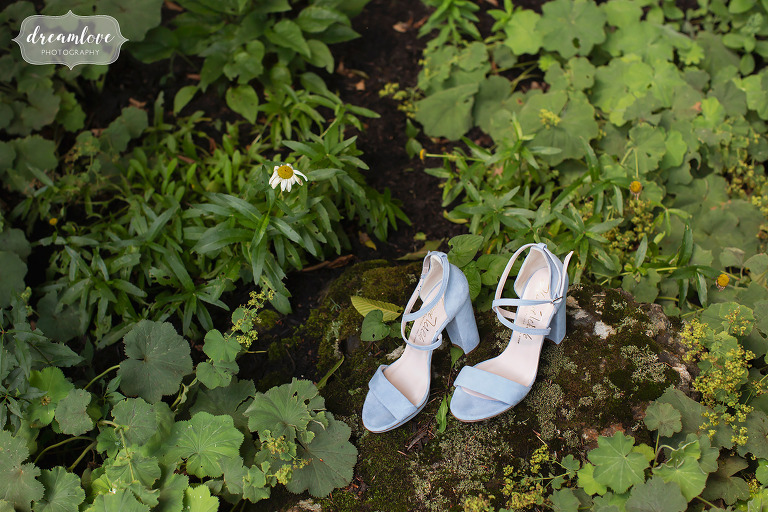 Fairytale wedding blue shoes in woods of Stowe, VT.