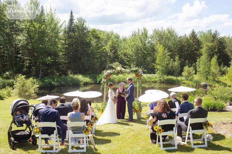 Outdoor wedding ceremony in Stowe, VT.