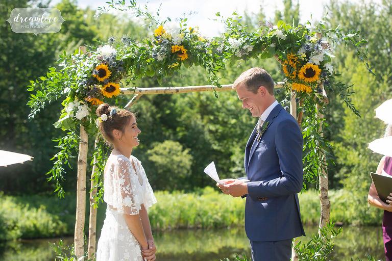 Sunflowers wedding in Stowe, VT.
