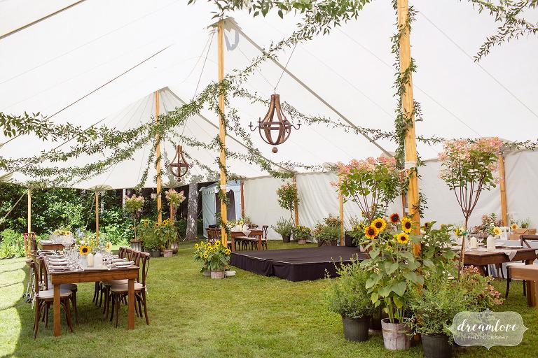 Gorgeous garden tented wedding reception in Stowe, VT.