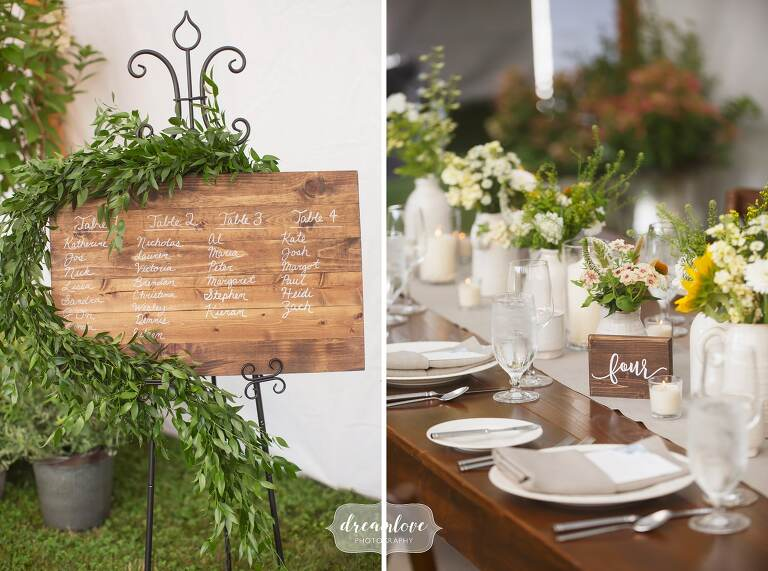 Rustic greenery garland with wooden signs in Stowe.