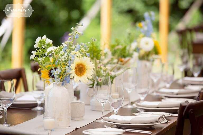 White ceramic farmhouse vases for Stowe, VT wedding.