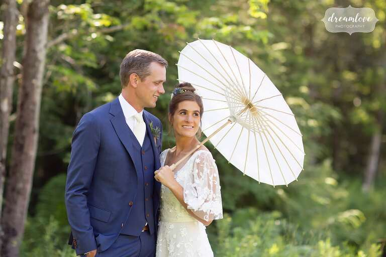 Bride with parasol at Stowe Meadows Summer wedding.