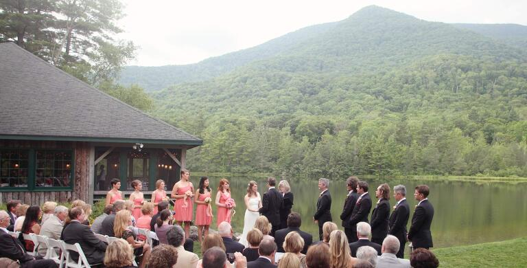 outdoor wedding at the equinox pond pavilion