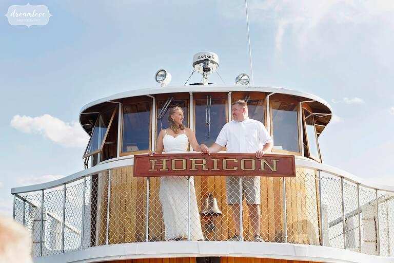Lake George Wedding photographer captures ceremony on Horicon boat.