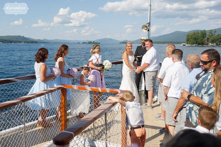 Wedding ceremony on the Horicon on Lake George.