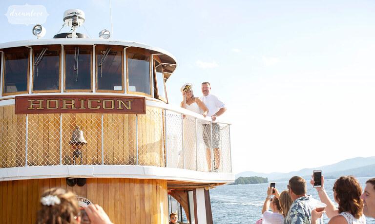 Alternative boat wedding venue on Lake George