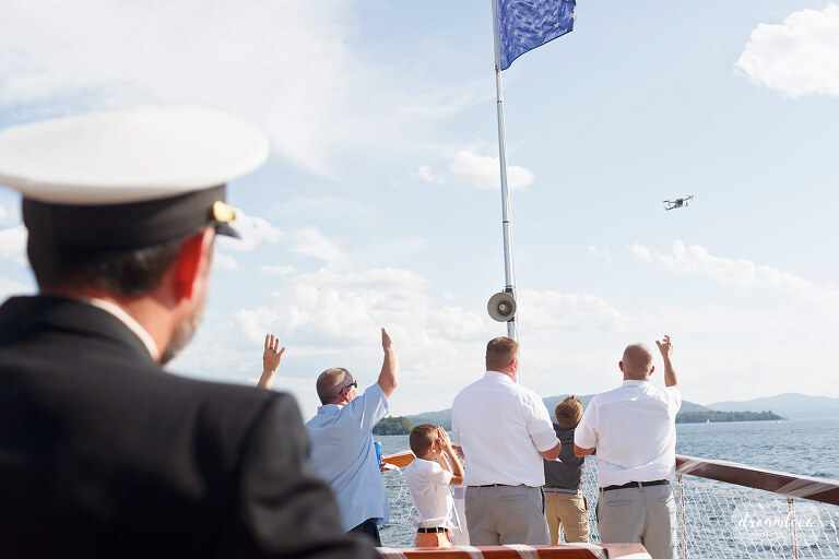 Wedding party loses drone off Horicon boat on Lake George.