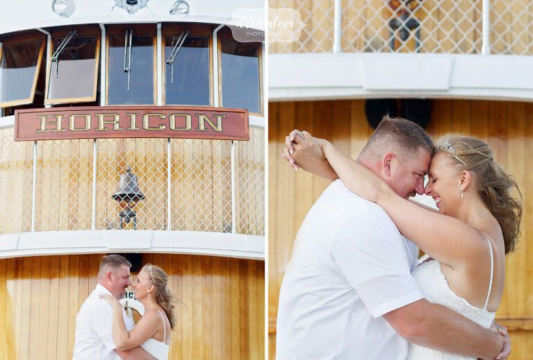 Lake George Wedding photographer captures bride and groom on Horicon.