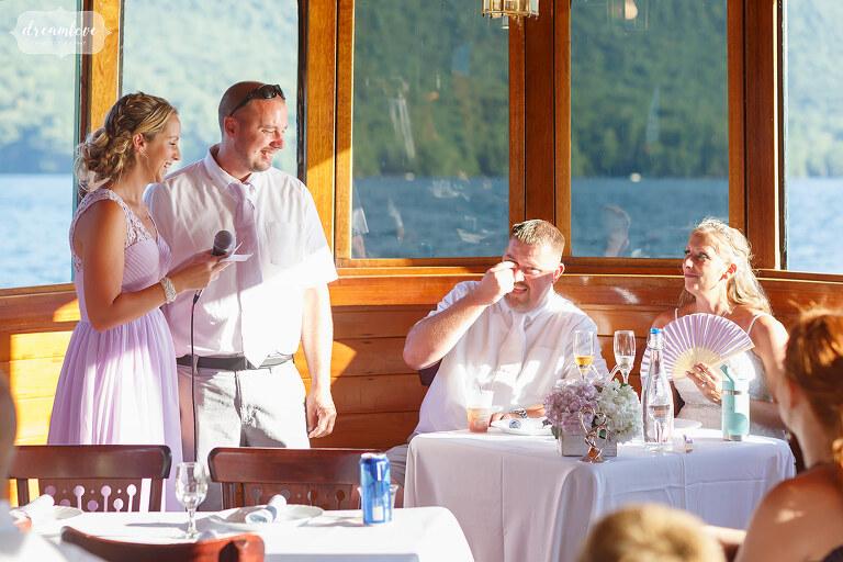 Unique boat wedding reception on Lake George.