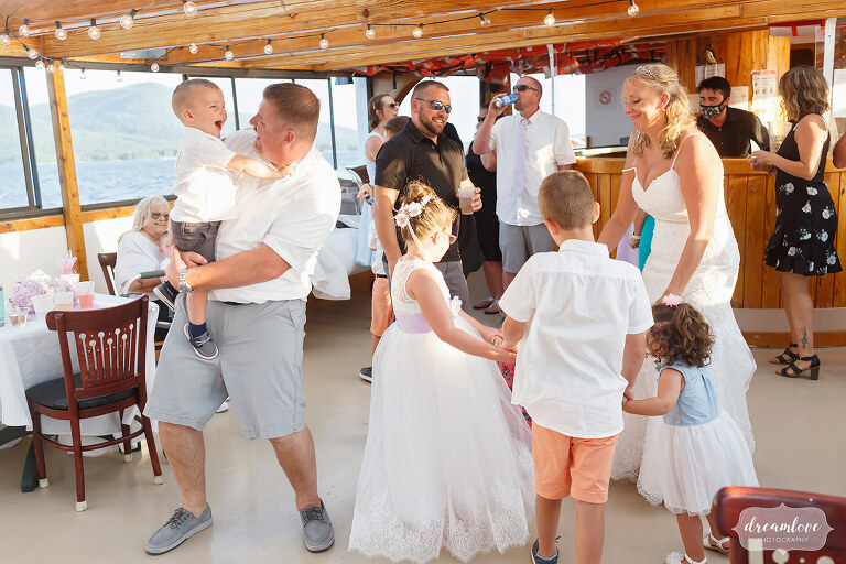 Guests dancing on Horicon boat wedding reception.
